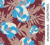 beautiful seamless floral... | Shutterstock . vector #1292679001