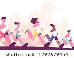 men and women training to... | Shutterstock .eps vector #1292679454