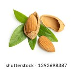 almonds nuts with leaves... | Shutterstock . vector #1292698387
