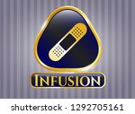 golden badge with bandage... | Shutterstock .eps vector #1292705161