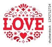 valentine's day vector greeting ... | Shutterstock .eps vector #1292712724