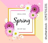 spring sale off background with ... | Shutterstock .eps vector #1292731231
