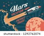 vintage poster   rocket flies... | Shutterstock .eps vector #1292762074