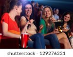 happy girls sitting in... | Shutterstock . vector #129276221