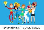 athlete set vector. man  woman. ... | Shutterstock .eps vector #1292768527