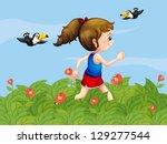 illustration of a girl walking... | Shutterstock .eps vector #129277544