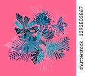 neon tropical flower... | Shutterstock . vector #1292803867