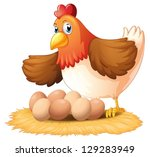 illustration of a hen and her... | Shutterstock .eps vector #129283949