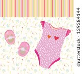 baby girl background with shoes ... | Shutterstock .eps vector #129284144