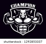 black and white badge of a bull ... | Shutterstock .eps vector #1292853337