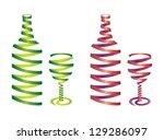 ribbon bottle and glass | Shutterstock .eps vector #129286097