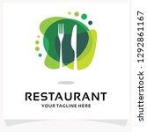 restaurant logo design template ... | Shutterstock .eps vector #1292861167