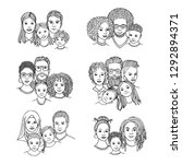 hand drawn family portraits ... | Shutterstock .eps vector #1292894371