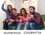 group of friends having fun... | Shutterstock . vector #1292894734