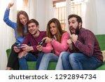 group of friends having fun... | Shutterstock . vector #1292894734