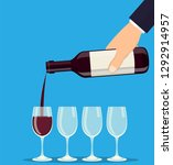 pouring out red wine from a... | Shutterstock .eps vector #1292914957