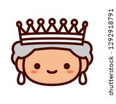 vector cartoon queen emoji icon ... | Shutterstock .eps vector #1292918791