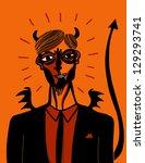 devil businessman - stock vector
