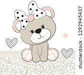 cute teddy bear girl vector... | Shutterstock .eps vector #1292945437