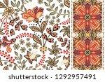 set of floral seamless... | Shutterstock . vector #1292957491