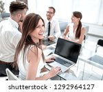 young business woman working on ... | Shutterstock . vector #1292964127