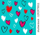 collection of hand drawn hearts....   Shutterstock .eps vector #1292975011