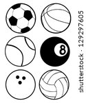 black and white sports balls | Shutterstock .eps vector #129297605