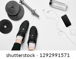 women's legs in sneakers ...   Shutterstock . vector #1292991571