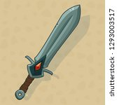 cartoon game sword with red...