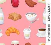 breakfast menu seamless vector... | Shutterstock .eps vector #1293012364