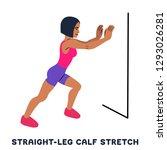 straight leg calf stretch....   Shutterstock .eps vector #1293026281