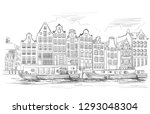 houses on riverbank. canal of... | Shutterstock .eps vector #1293048304