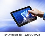 dna helix abstract background...   Shutterstock . vector #129304925