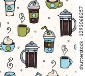 vector coffee seamless repeat... | Shutterstock .eps vector #1293068257