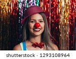a female clown with colorful... | Shutterstock . vector #1293108964