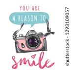 slogan with pastel camera... | Shutterstock .eps vector #1293109057