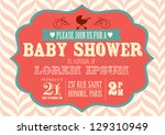 baby shower invitation template ... | Shutterstock .eps vector #129310949
