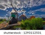 zaandam  holland  an old mill... | Shutterstock . vector #1293112531
