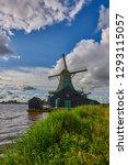 zaandam  holland  an old mill... | Shutterstock . vector #1293115057