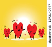 cartoon hearts funny and cute... | Shutterstock .eps vector #1293140797