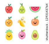 fruits set. kawaii | Shutterstock .eps vector #1293143764