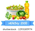 set of fresh salad illustration | Shutterstock .eps vector #1293185974