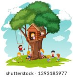 children at tree house... | Shutterstock .eps vector #1293185977