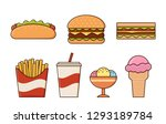 fast food icons isolated in... | Shutterstock . vector #1293189784
