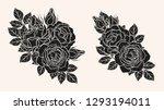 rose silhouette ornament... | Shutterstock .eps vector #1293194011