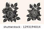 rose silhouette ornament... | Shutterstock .eps vector #1293194014