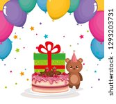 cute and little bear teddy with ... | Shutterstock .eps vector #1293203731