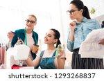 three women at garment factory. ... | Shutterstock . vector #1293268837