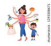 multitasking mom and housewife... | Shutterstock .eps vector #1293308671
