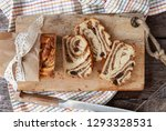 braided cake with nut and... | Shutterstock . vector #1293328531